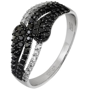 кольцо c бриллиантами из белого золота 13038241 от EVORA