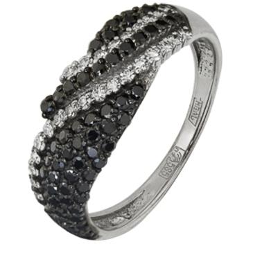 кольцо c черными бриллиантами из белого золота 13038243.17-1