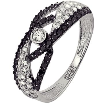 кольцо c черными и белыми бриллиантами из белого золота 13038432