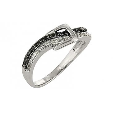 Кольцо Пряжка с чёрным и белым бриллиантами из белого золота 101886 от EVORA