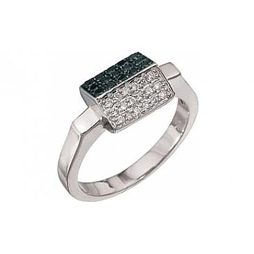 Кольцо с черным и белым бриллиантами из белого золота 2772 от EVORA