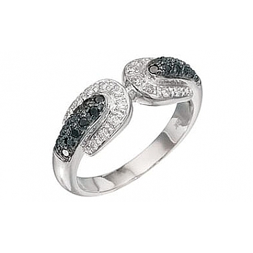 Кольцо с черным и белым бриллиантами из белого золота 2773 от EVORA