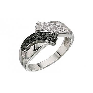 Кольцо с черным и белым бриллиантами из белого золота 3351 от EVORA