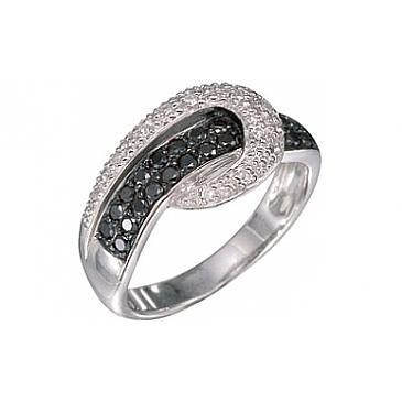 Кольцо с черным и белым бриллиантами из белого золота 7146 от EVORA