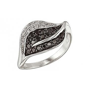 Кольцо с черным и белым бриллиантами из белого золота 26607 от EVORA