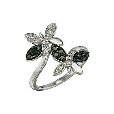 Кольцо с черным и белым бриллиантами из белого золота 26604 от EVORA