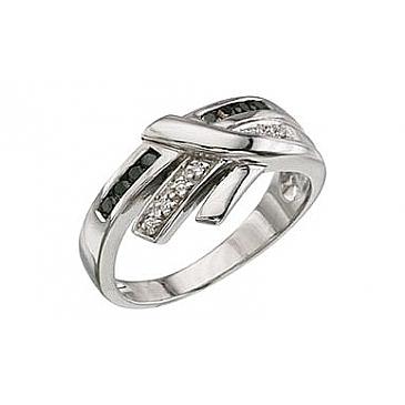 Кольцо с черным и белым бриллиантами из белого золота 3357 от EVORA