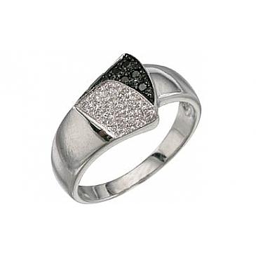 Кольцо с черным и белым бриллиантами из белого золота 3359