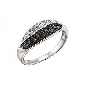 Кольцо с черным и белым бриллиантами из белого золота 3361