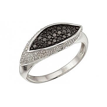 Кольцо с черным и белым бриллиантами из белого золота 29110