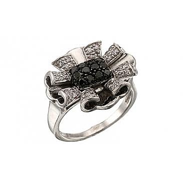 Кольцо с черным и белым бриллиантами из белого золота 34523