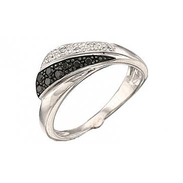 Кольцо с черным и белым бриллиантами из белого золота 34520