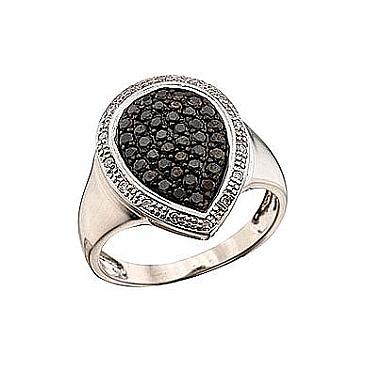 Кольцо с черным и белым бриллиантами из белого золота 41329