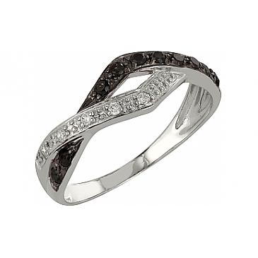 Кольцо с черным и белым бриллиантами из белого золота 98345
