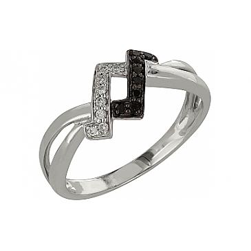 Кольцо с черным и белым бриллиантами из белого золота 98153