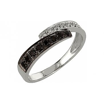Кольцо с черным и белым бриллиантами из белого золота 98174
