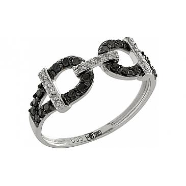 Кольцо с черным и белым бриллиантами из белого золота 100363
