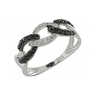 Кольцо с черным и белым бриллиантами из белого золота 100366