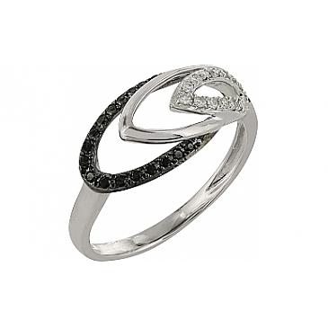 Кольцо с черным и белым бриллиантами из белого золота 101879