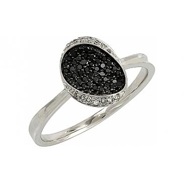 Кольцо с черными и белыми бриллиантами из белого золота 106680 от EVORA