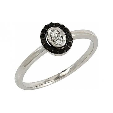 Кольцо с черными и белыми бриллиантами из белого золота 106685 от EVORA