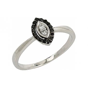 Кольцо с черными и белыми бриллиантами из белого золота 106689 от EVORA