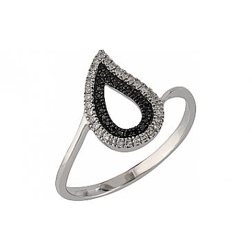 Кольцо с черными и белыми бриллиантами из белого золота 107096 от EVORA