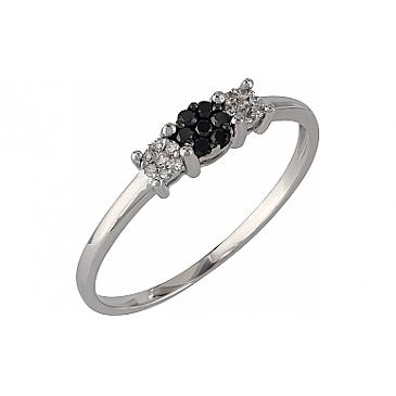 Кольцо с черными и белыми бриллиантами из белого золота 107097 от EVORA