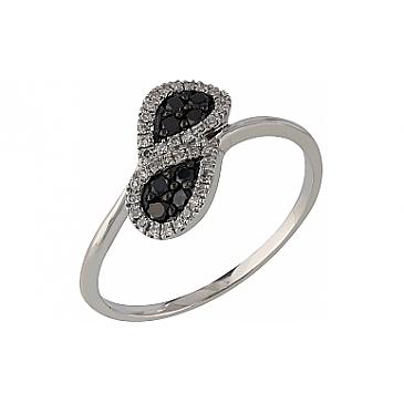 Кольцо с черными и белыми бриллиантами из белого золота 107098 от EVORA