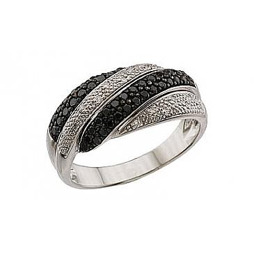 Кольцо с чёрным и белым бриллиантами из белого золота 62739