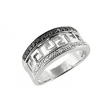Кольцо с чёрным и белым бриллиантами из белого золота 66000