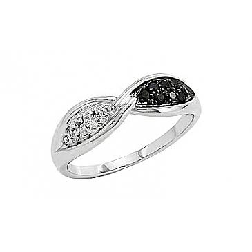 Кольцо с чёрным и белым бриллиантами из белого золота 81928