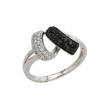 Кольцо с чёрным и белым бриллиантами из белого золота 82258