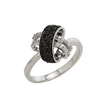 Кольцо с чёрным и белым бриллиантами из белого золота 82249