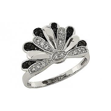 Кольцо с чёрным и белым бриллиантами из белого золота 83635