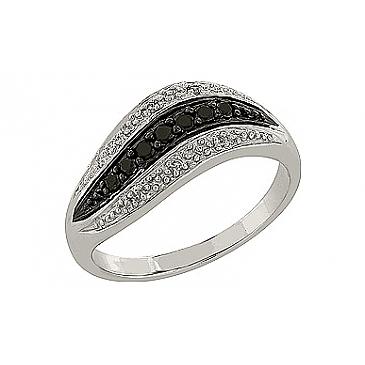 Кольцо с чёрным и белым бриллиантами из белого золота 77413