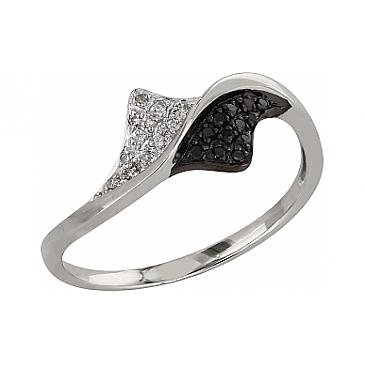 Кольцо с чёрным и белым бриллиантами из белого золота 99063
