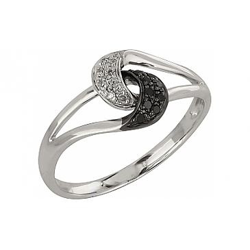 Кольцо с чёрным и белым бриллиантами из белого золота 99212