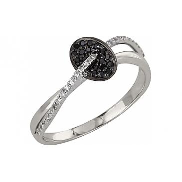 Кольцо с чёрным и белым бриллиантами из белого золота 99218
