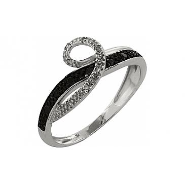 Кольцо с чёрным и белым бриллиантами из белого золота 99866