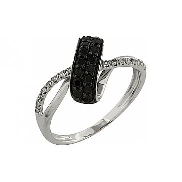 Кольцо с чёрным и белым бриллиантами из белого золота 99135