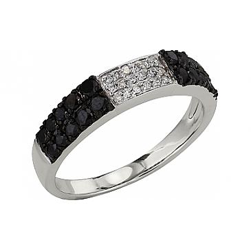 Кольцо с чёрным и белым бриллиантами из белого золота 99216