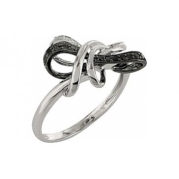 Кольцо с чёрным и белым бриллиантами из белого золота 101880
