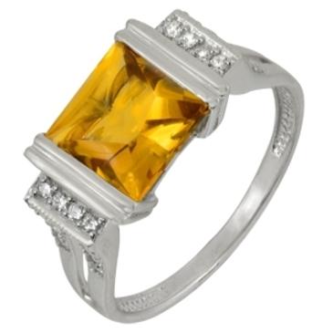 кольцо c цитрином из белого золота 1906101556