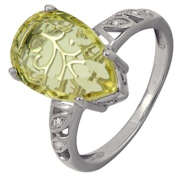 кольцо c цитрином из белого золота 1906101880