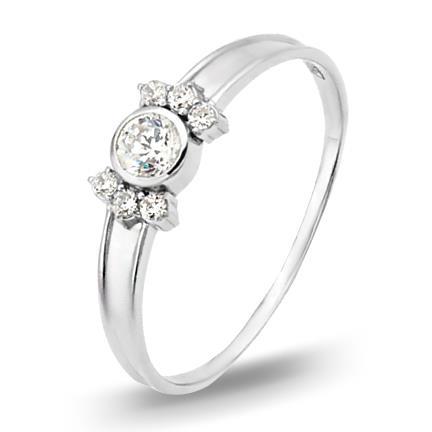 кольцо c фианитами из белого золота 13027418