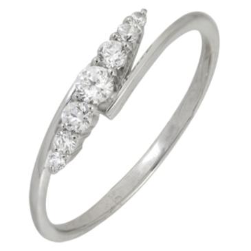 кольцо c фианитами из белого золота 13028063