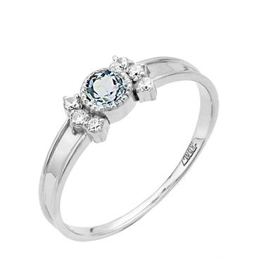 кольцо c фианитами из белого золота 13827418