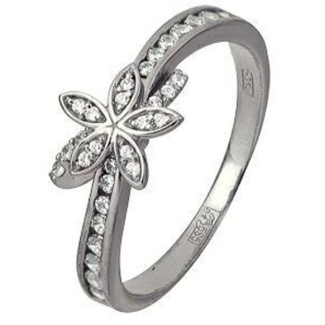 кольцо c фианитами из белого золота 13028520
