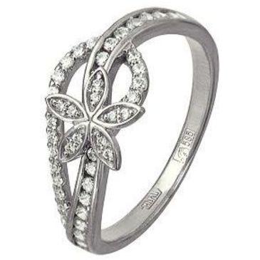 кольцо c фианитами из белого золота 13028521